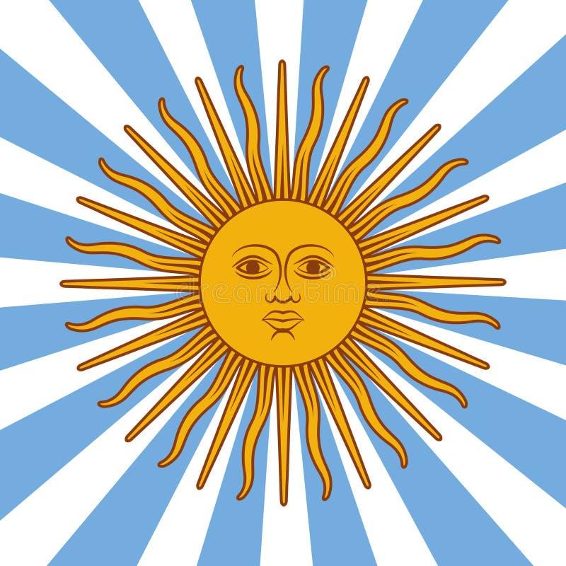阿根廷卡片-与太阳和旗子颜色的海报例证 皇族释放例证