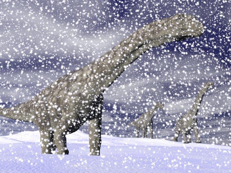 阿根廷龙恐龙在冬天- 3D回报 库存例证