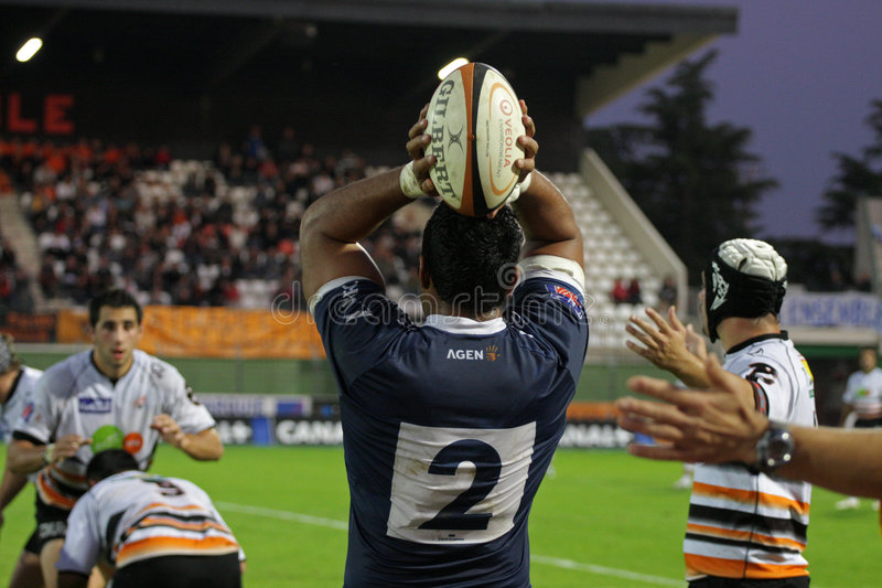 阿格纳d2法国符合纳莫纳赞成橄榄球与 图库摄影