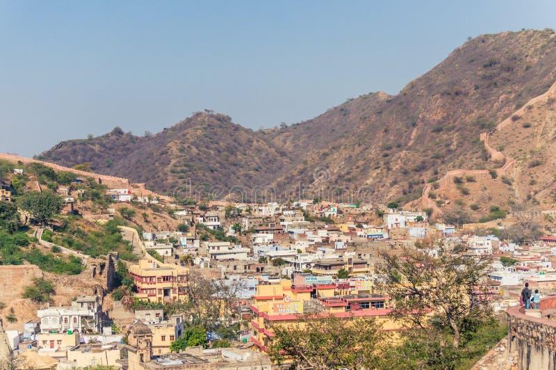 阿梅尔镇看法在斋浦尔,拉贾斯坦,Aravali山山麓小丘的印度附近的  库存照片
