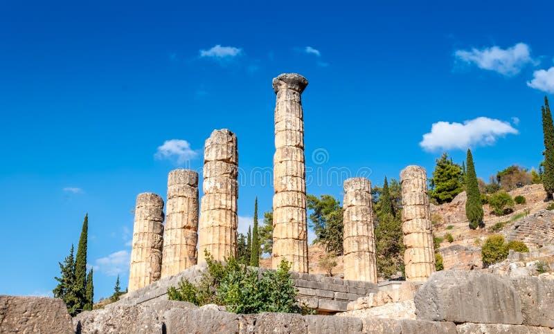 阿波罗寺庙在特尔斐,一个考古学站点在希腊 库存照片