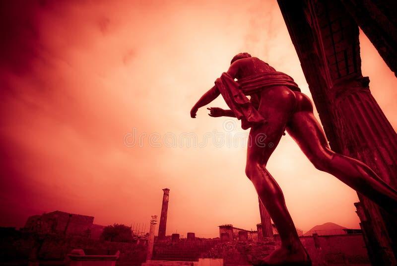阿波罗教堂的剧烈的场面在庞贝城 免版税库存照片