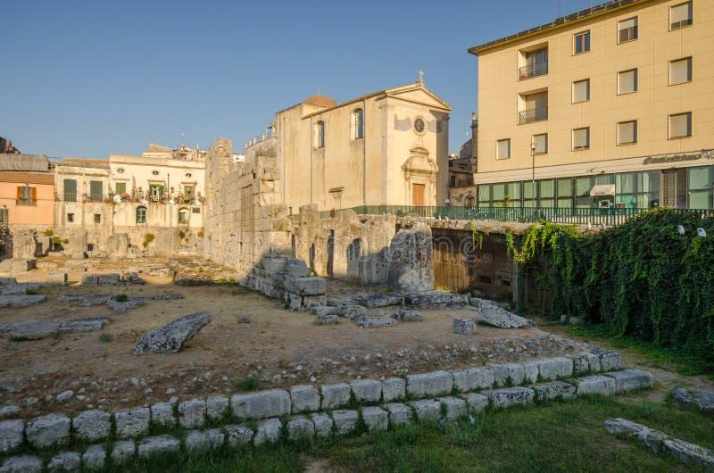 阿波罗教堂的遗骸在Ortigia西勒鸠斯 库存照片