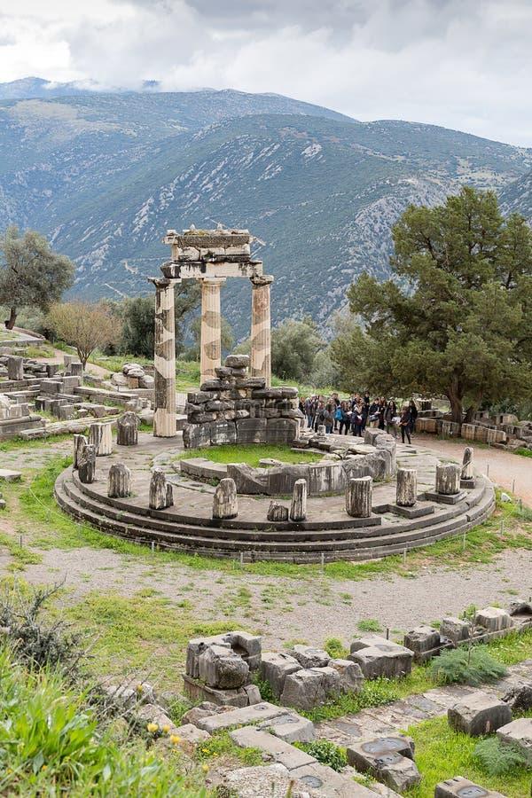 阿波罗神Tholos,从上面被看见,特尔斐,希腊,欧洲 库存图片