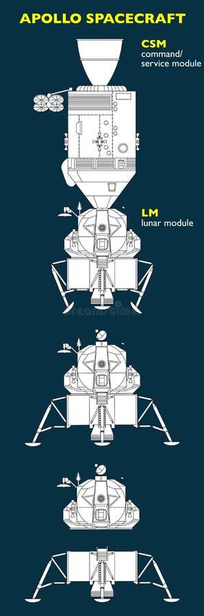 阿波罗航天器被设计把人带到月亮 皇族释放例证