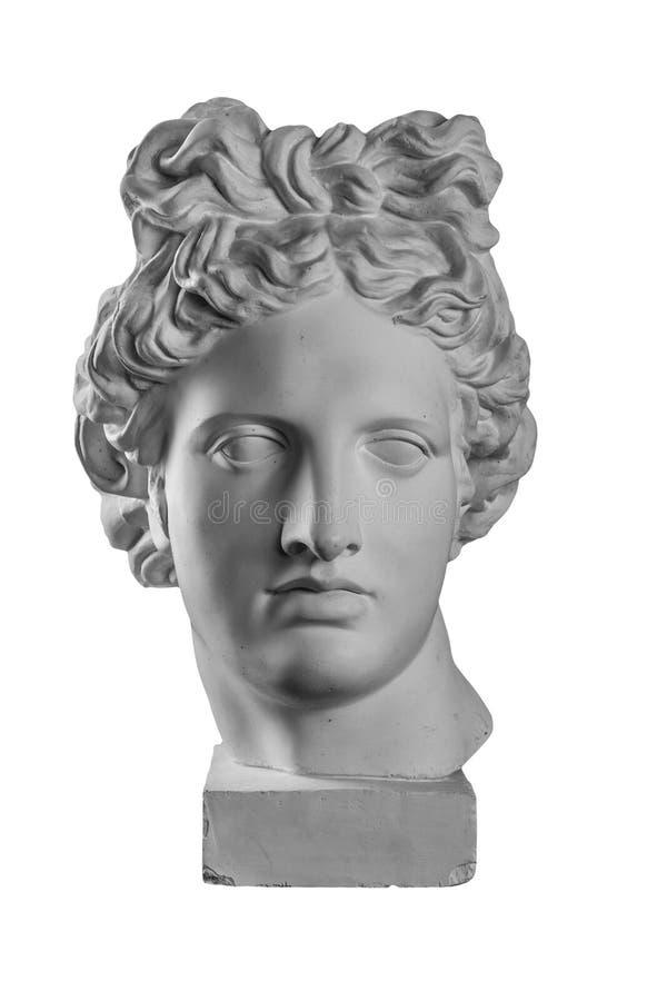 阿波罗` s头石膏雕象  免版税库存图片