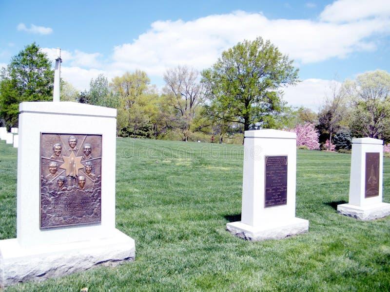 阿灵顿公墓挑战者和哥伦比亚纪念品2010年 库存照片