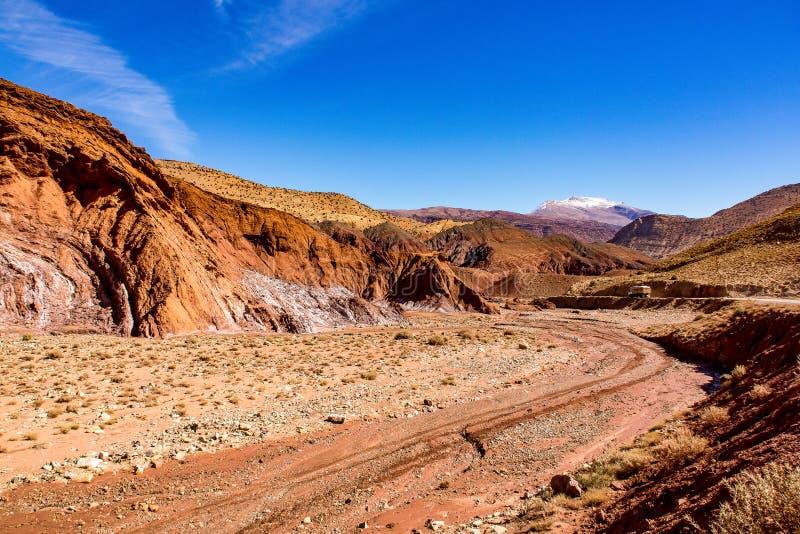 阿特拉斯山脉的风景在摩洛哥,非洲 免版税库存照片