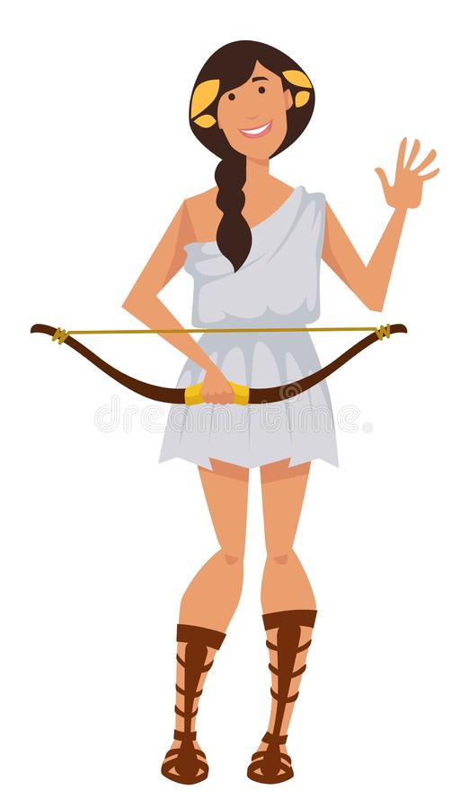 阿特米斯有狩猎原野和贞洁的弓标志的古希腊女神 向量例证