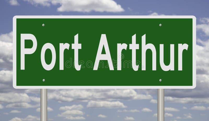 阿瑟港的得克萨斯高速公路标志 免版税库存图片