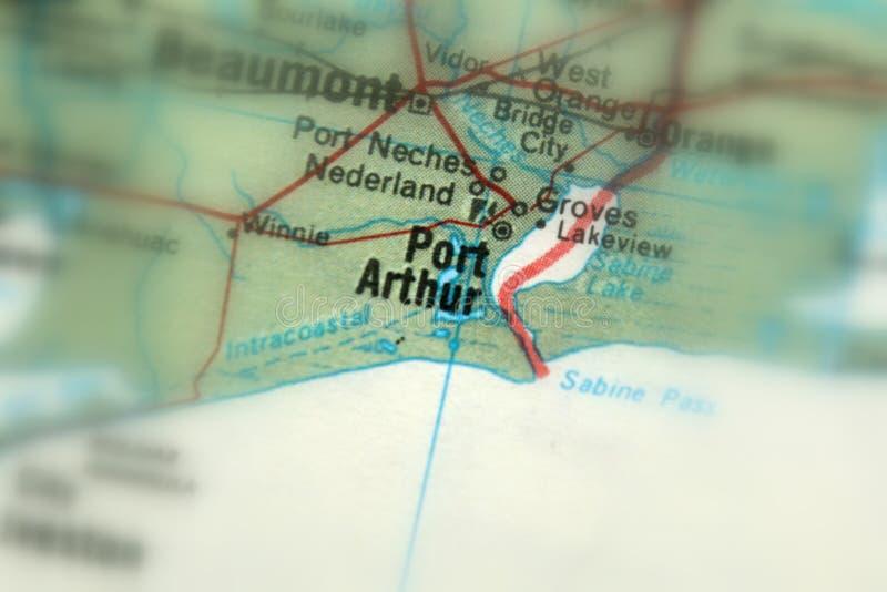 阿瑟港,一个城市在美国 库存图片