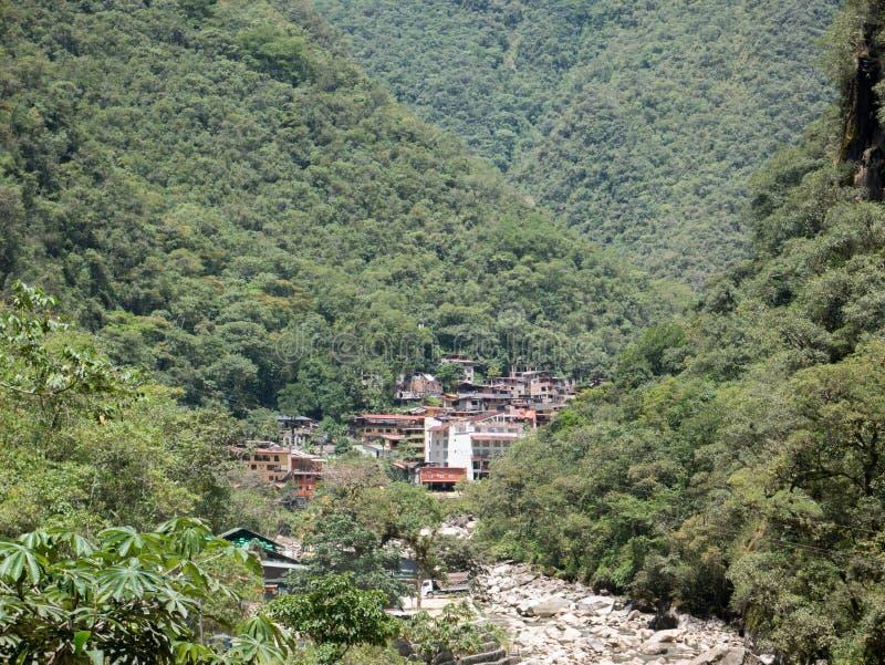 阿瓜斯卡连特斯火山镇在库斯科,马丘比丘,秘鲁 图库摄影