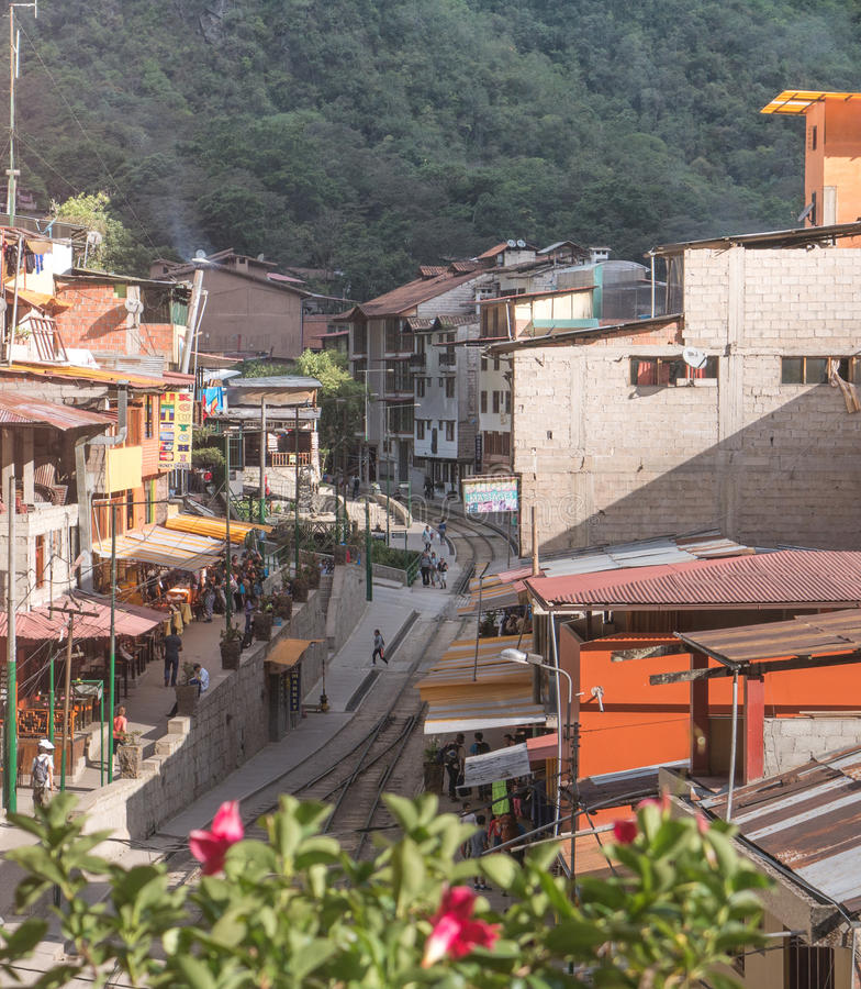 阿瓜斯卡连特斯火山镇在库斯科,马丘比丘,秘鲁 库存图片