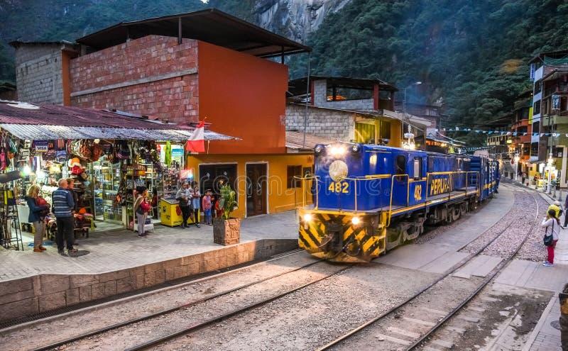 阿瓜斯卡连特斯火山/库斯科/马丘比丘/Peru 07 15 2017年 免版税库存照片