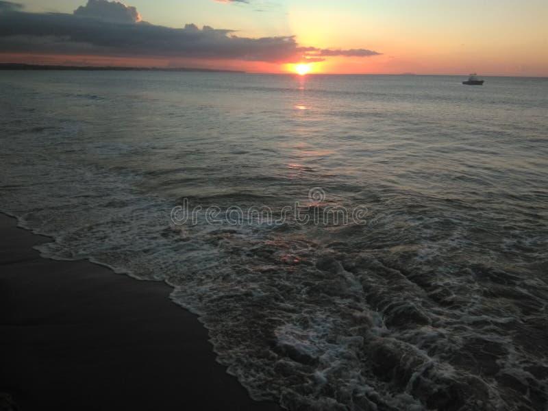 阿瓜迪亚波多黎各海湾日落 库存图片