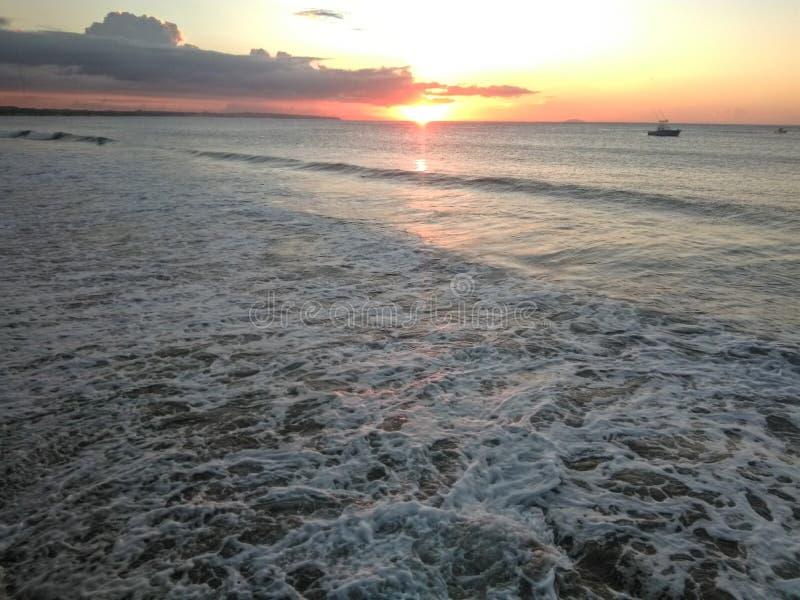 阿瓜迪亚波多黎各海湾日落 图库摄影