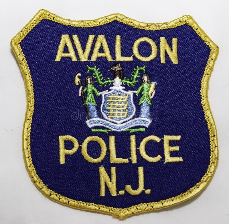 阿瓦隆警察局的肩章在新泽西 库存照片