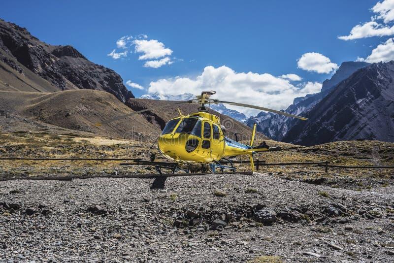 阿空加瓜,安地斯山的在Mendoza,阿根廷 免版税库存图片