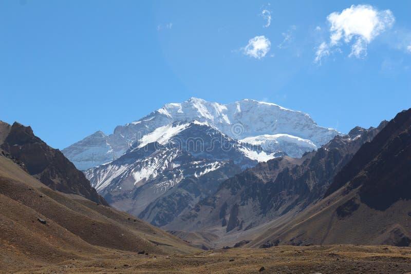 阿空加瓜,山脉de los安地斯 库存图片