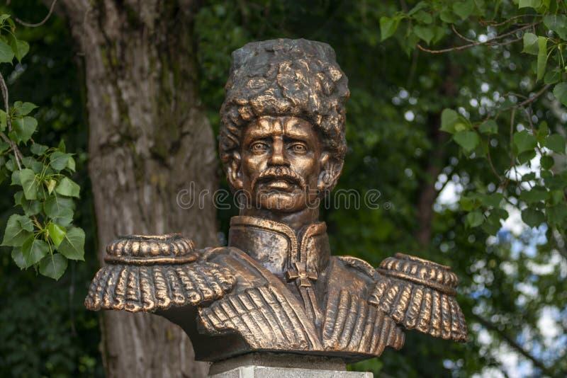 阿纳帕,俄罗斯-可以5日2019年:对首领阿列克谢丹尼洛维奇Beskrovny的纪念碑在阿纳帕,俄罗斯 免版税库存照片