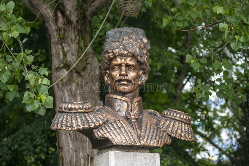 阿纳帕,俄罗斯-可以5日2019年:对首领阿列克谢丹尼洛维奇Beskrovny的纪念碑在阿纳帕,俄罗斯 图库摄影