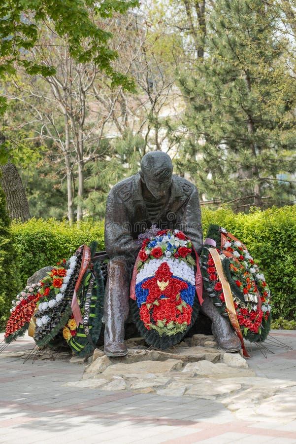 阿纳帕,俄罗斯- 2019年5月9日:纪念碑建立阿富汗人的战争 库存图片