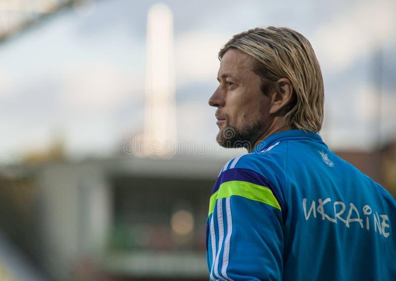 阿纳托利・季莫什丘克-乌克兰全国足球队员球员 库存照片