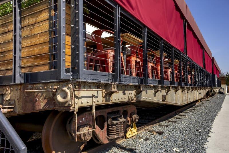 阿纳海姆屠宰加工厂火车饭厅  库存照片