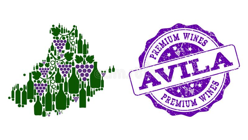阿维拉省葡萄酒瓶地图拼贴画和优质酒盖印 库存例证