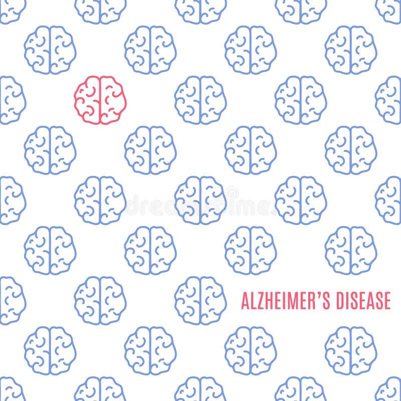 阿耳茨海默氏` s疾病脑子海报 库存例证