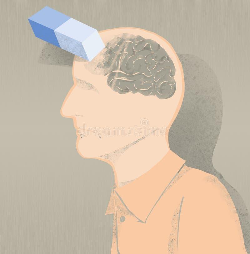 阿耳茨海默氏例证和记忆损失的病残 向量例证