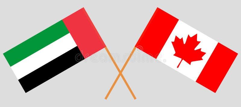 阿联酋和加拿大 阿拉伯联合酋长国和加拿大旗子 正式颜色 正确比例 向量 库存例证