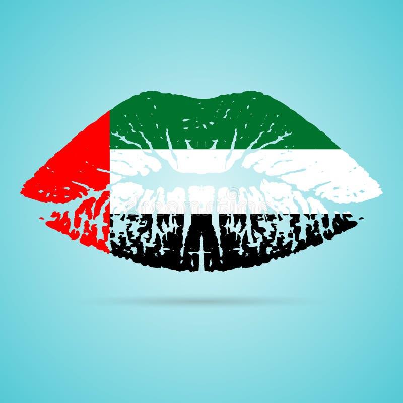 阿联酋在白色背景隔绝的嘴唇的旗子唇膏 也corel凹道例证向量 向量例证