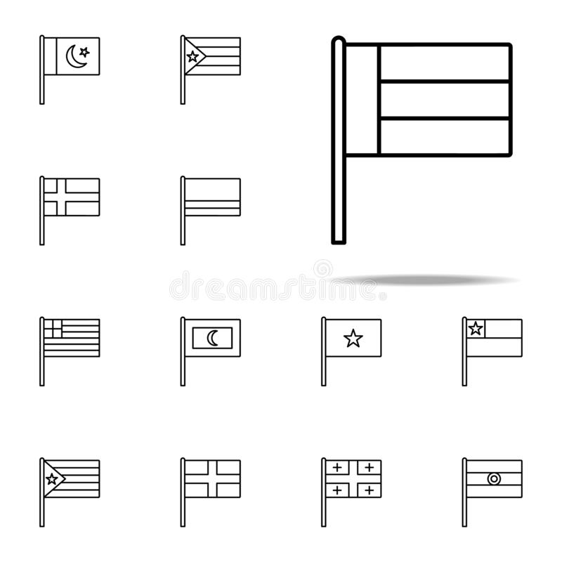 阿联酋象 网和机动性的旗子象全集 向量例证