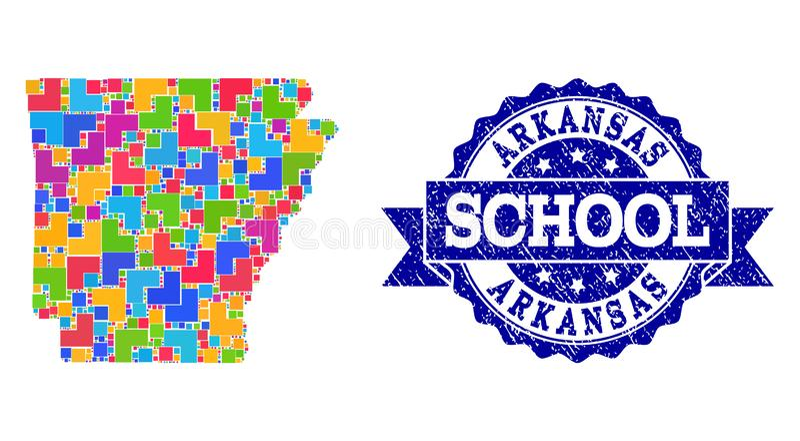 阿肯色州和困厄学校封印拼贴画军用镶嵌地图  库存例证