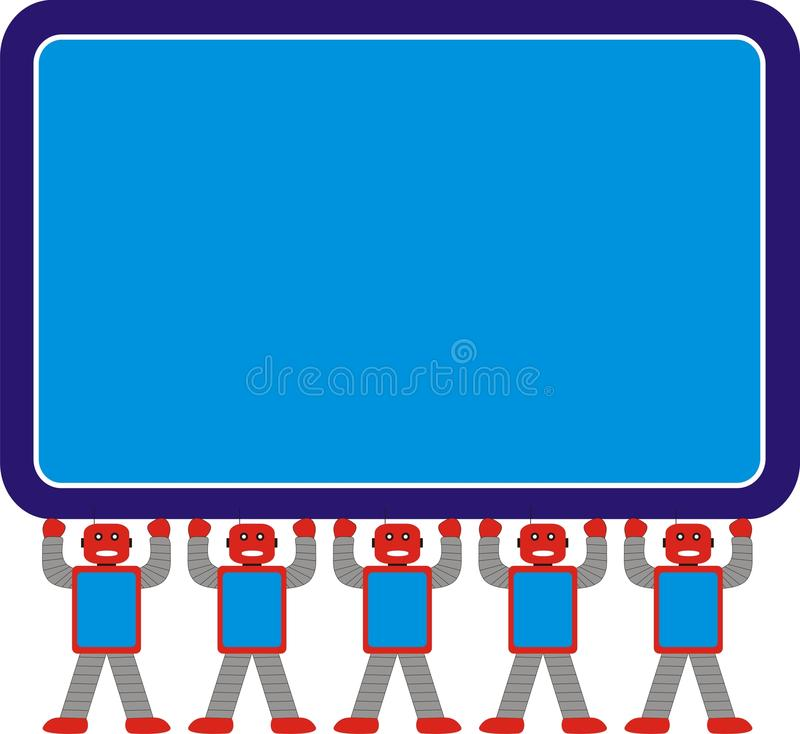 阿荣一起站立式样A1蓝色红色灰色的机器人家庭 库存照片