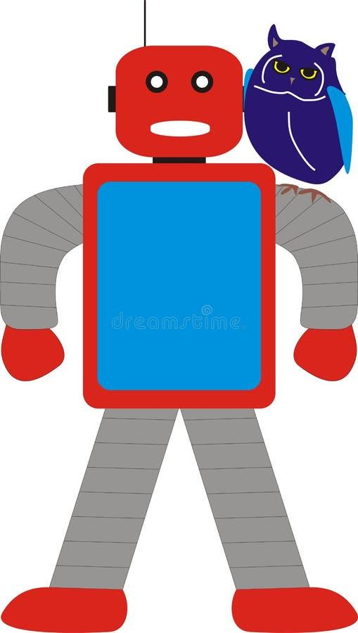 阿荣机器人和猫头鹰常设模型A1蓝色红色灰色 免版税库存照片