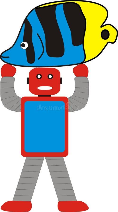 阿荣机器人和鱼常设模型A1蓝色红色灰色 免版税库存照片