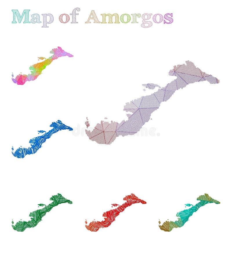 阿莫尔戈斯岛手拉的地图  皇族释放例证