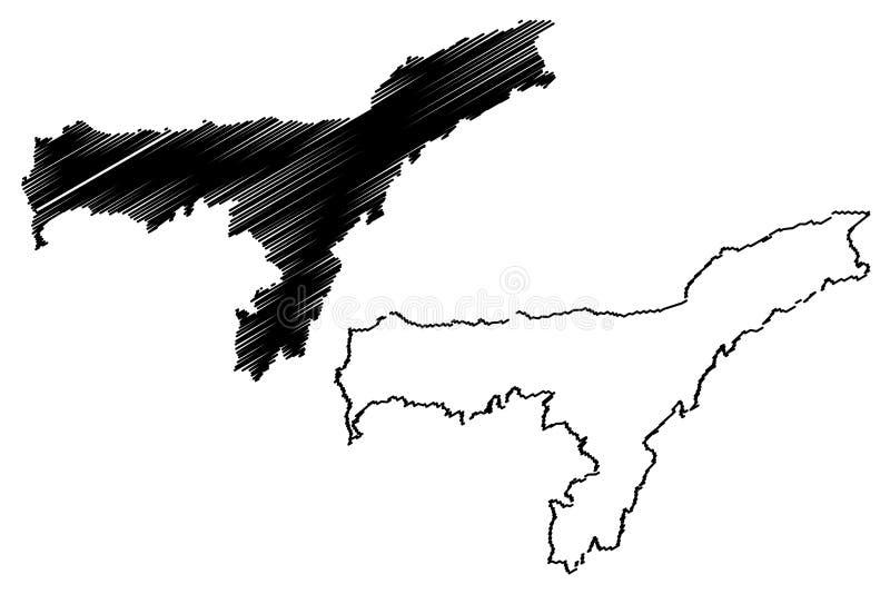 阿萨姆邦地图传染媒介 皇族释放例证