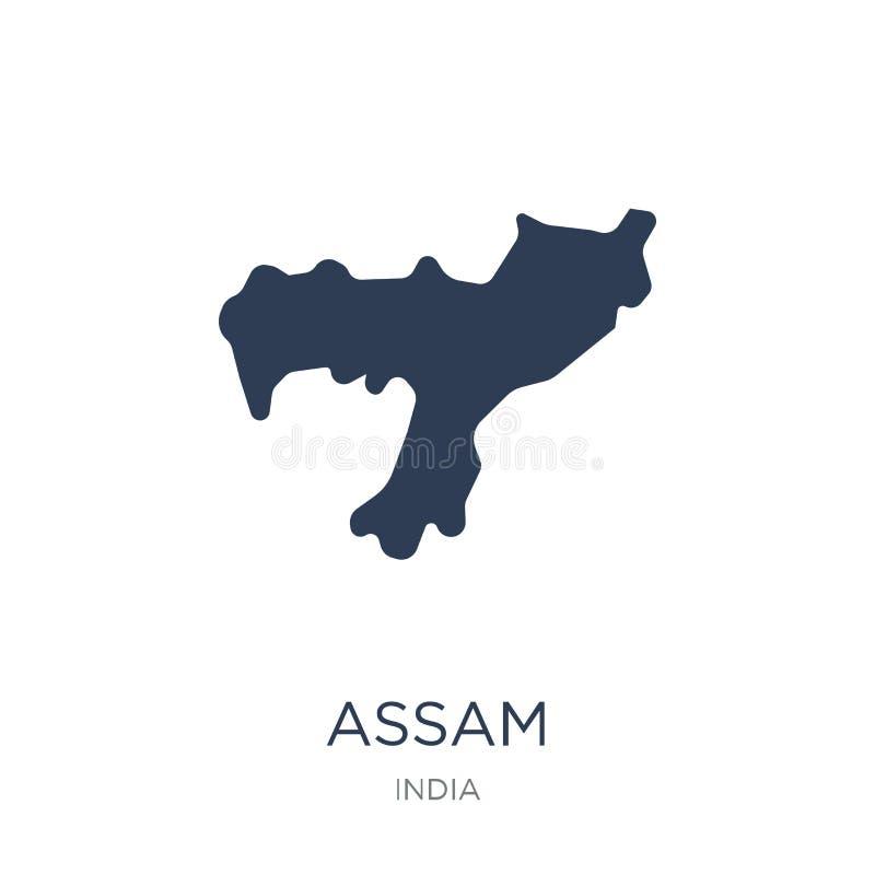 阿萨姆邦象 在白色背景fr的时髦平的传染媒介阿萨姆邦象 向量例证