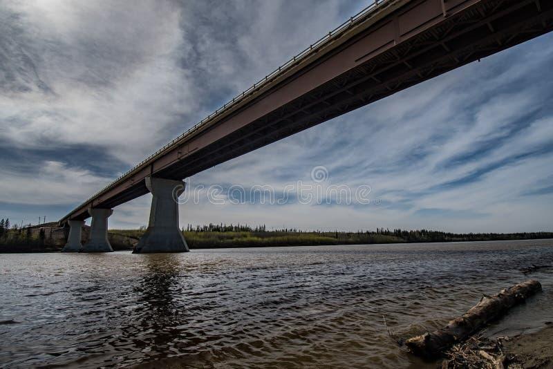 阿萨巴斯卡对无处的河桥梁 免版税库存图片