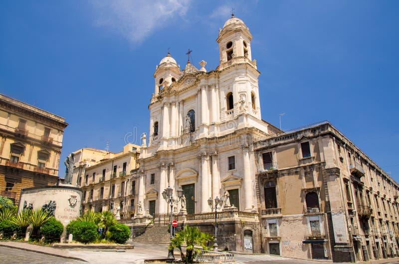 阿西西洁净的教会圣弗朗西斯,卡塔尼亚,西西里岛,意大利 免版税库存照片