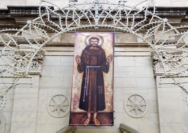 阿西西,圣法兰西斯,索伦托教会圣法兰西斯严肃  库存照片