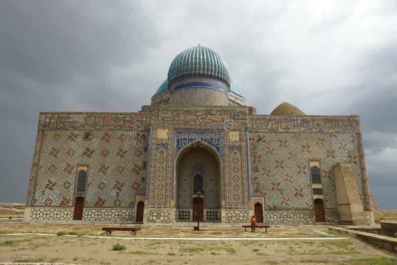 阿赫马德阿哈迈德Yasawi陵墓在Turkistan,哈萨克斯坦 免版税库存图片