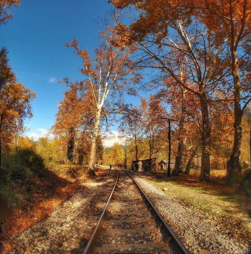 """阿达纳土耳其的贝莱梅迪克自然公园。Adana Turgiançš""""Belemedik自然公园,树木,全景,火车,车站,秋 免版税图库摄影"""