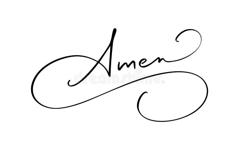 阿门传染媒介书法圣经文本 在白色背景隔绝的基督徒词组 手拉的葡萄酒字法 向量例证