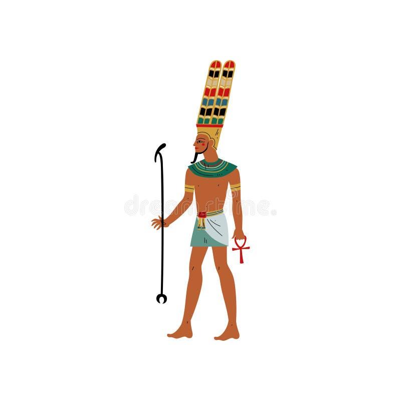 阿门,黑天堂般的空间,空气,古老埃及文化传染媒介例证的标志的上帝 向量例证