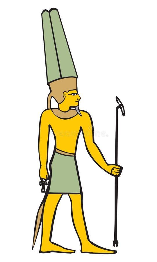阿门,黑天堂般的空间,空气,古老埃及文化传染媒介例证的标志的上帝 皇族释放例证
