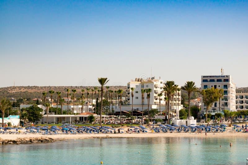 阿雅纳帕,塞浦路斯- 2018年6月08日:桑迪贝海滩,Ayia Napa 库存图片